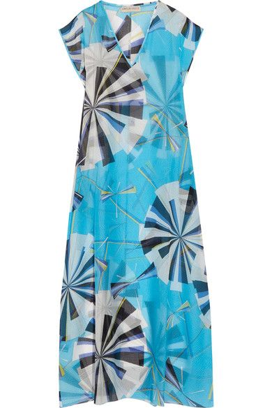 Emilio Pucci - Printed Hammered Silk-chiffon Kaftan - Azure - IT46