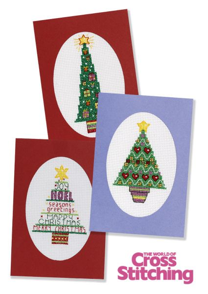 Christmas card ideas - fancy trees, cross stitch charts by The World of Cross Stitching, issue 197
