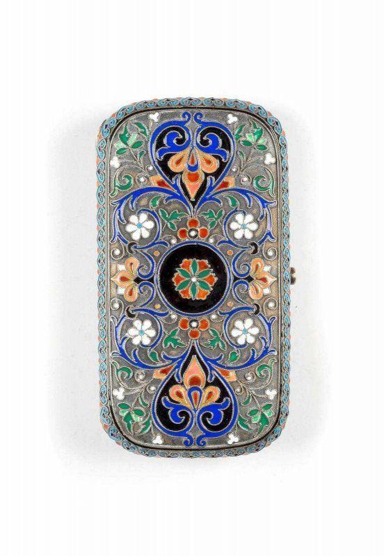 Russian Silver-gilt and Cloisonné-enamel Cigarette Case,  Maria Eagle, 1882.