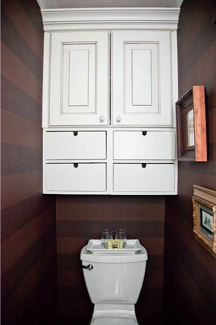 Cabinet above toilet, horizontal striped wallpaper #BathroomCabinets   – Bathroom Cabinets