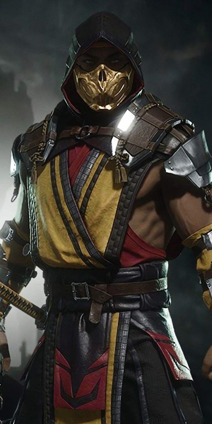 Mask man, Scorpion, Mortal Kombat, 1080x2160 wallpaper