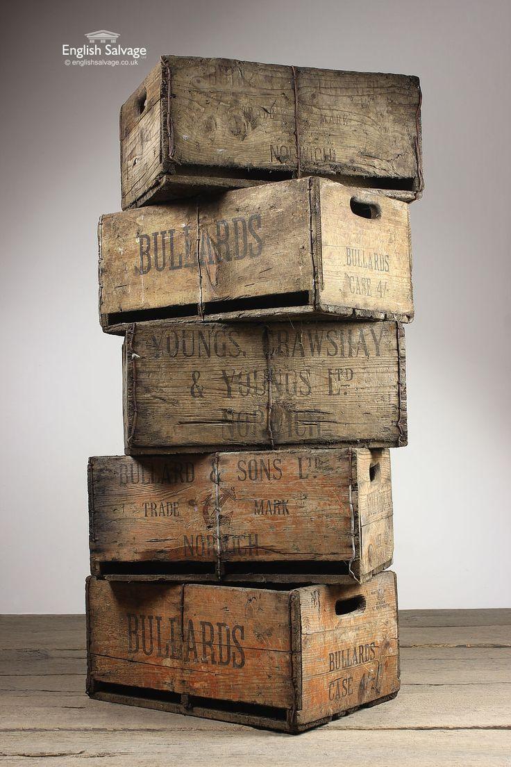 Antique Vintage Drinks Storage Crates / Boxes