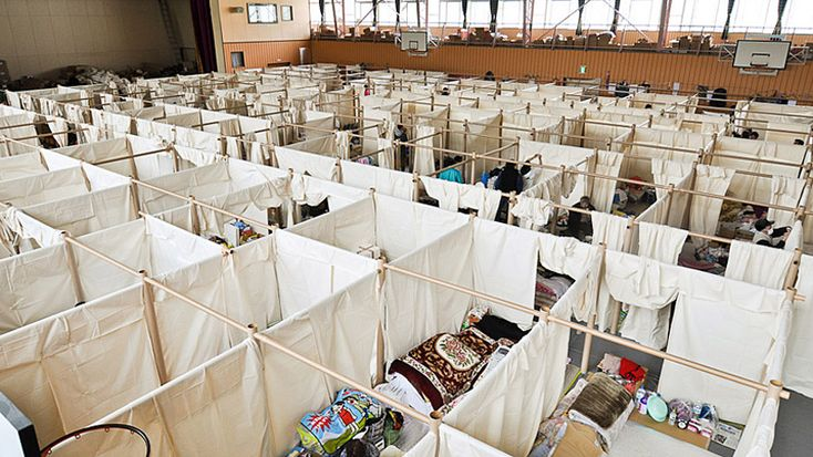 Emergency shelter partitions for Japan by shigeru ban architects.  Card board modular partition system provides rapid, scalable partitions earlier this year at disaster evacuation sites - designed clever to solve a problem - by humans for humans. humanity at a high point!