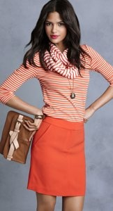 like the scale and mix of stripes: Spring Color, Orange You Glad, Color Combos, Pencil Skirts, Anntaylor, Work Outfit, Cute Outfit, Anne Taylors, Spring Outfit