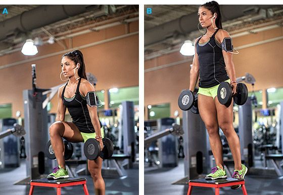 Home or Gym Move - Dumbbell Step-Ups. Targets: Quads & Glutes. You take the dumbbells (or bar and put it on your shoulders like in a squat position), and step up on a bench/step/box with one leg. Bring the other leg all the way up into a 90-degree angle, stepping back down to the floor with the 90-degree-angle leg, switching legs the next time you step up. Build up to 4 sets of 15 reps.
