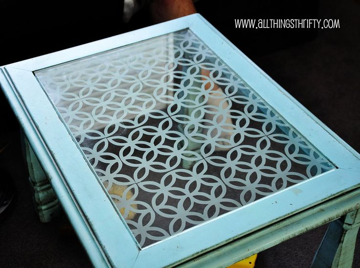 Add character to glass top furniture, the easy way! http://www.allthingsthrifty.com/2011/06/add-character-to-glass-furniture-easy.html