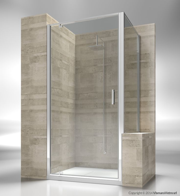 Shower enclosure with pivoting door for shower tray positioned next to a bath tub or a low wall. Shower enclosures Junior by @vismaravetro | GA+GP