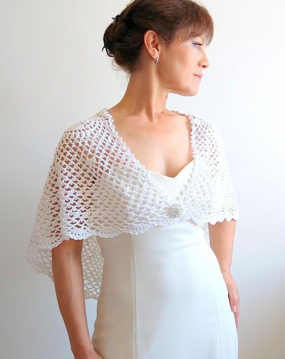 Blanca capa crochet envoltura boda cabo poncho lacy estola   tejidos ...