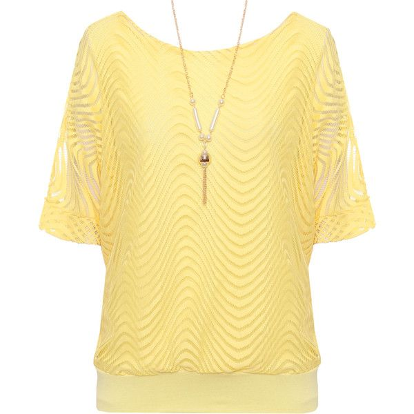 Gracia Lace Lined Batwing Top ($28) ❤ liked on Polyvore featuring tops, yellow, yellow top, layered tops, beige top, bat sleeve tops and batwing tops