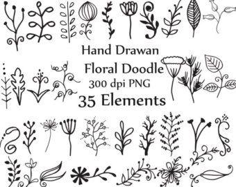 Doodle Blumen Clipart und Vektoren Hand von StudioDenmark auf Etsy