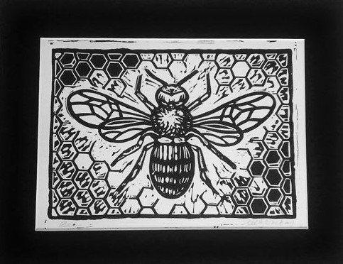 love bees Bee black & white linoleum block by BoxElderBrand