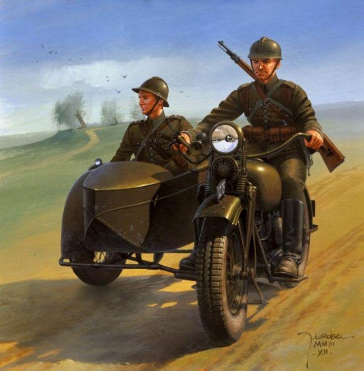Esercito Polacco - Equipaggio di Sidecar, 1939 | ^ https://de.pinterest.com/pin/462744930442478245/