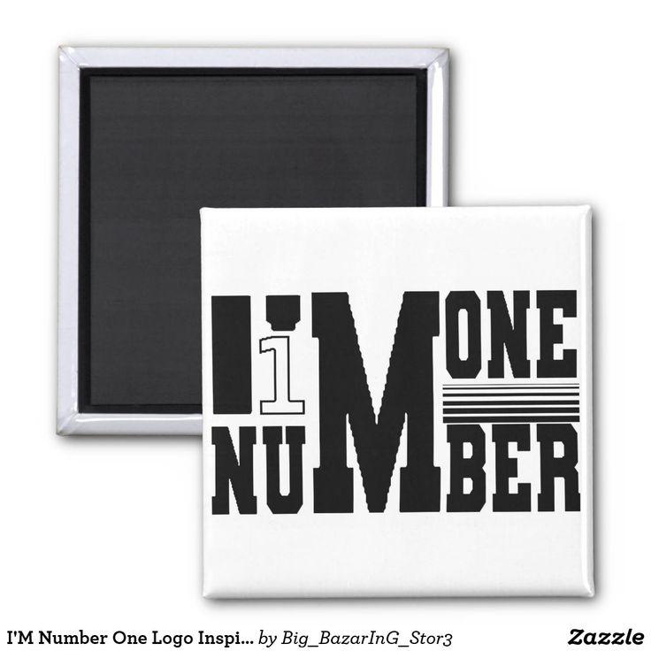 I M Number One Logo Inspirational Black White Magnet Zazzle