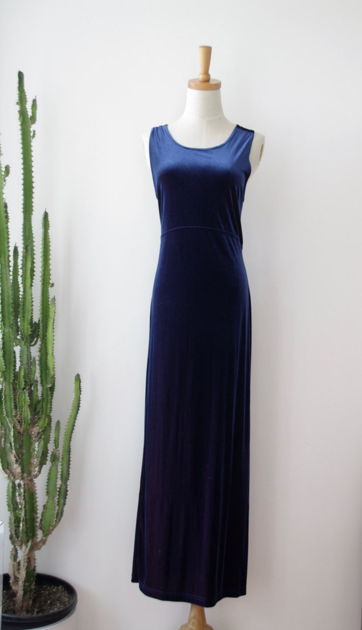 90s velvet  cross back dress. Navy velvet dress. Navy body con dress. Kate Moss. Velvet Minimalist dress. Witchy Woman dress. Size M - L by ForestHillTradingCo on Etsy