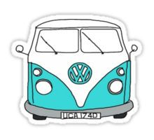 Retro Blue VW Van Pegatina