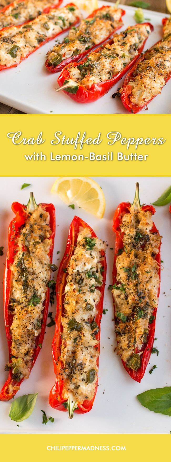 Patty and I are still enjoying the crab we caught in the Chesapeake Bay with this recipe for sweet peppers stuffed with succulent crab meat, goat cheese and Parmesan, then baked to perfection. So glad we caught so much crab!