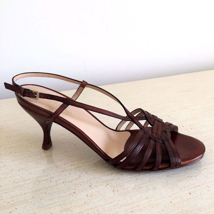Cole Haan Nike Air Brown Leather Strappy Heels, Sandals, Woman's Shoe Size 7B  #ColeHaan #StrappySandal #WeartoWork