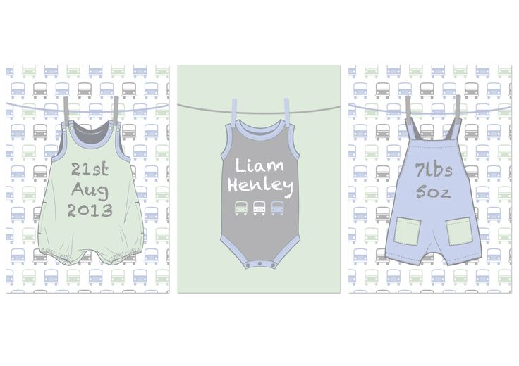 Adorable set of 3 personalised prints