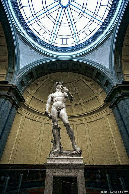 Michelangelo (1475-1564) ~ The David ~ Accademia ~ Florence ~ David, a masterpiece of Renaissance sculpture created between 1501-1504, by Michelangelo. Made of carrara marble, always a personally selected piece by Michelangelo, now on display at the Accademia di Belle Arti di Firenze. Originally commissioned as one of a series of statues to be positioned on the roof of Florence Cathedral, it was placed instead in a public square, Palazzo della Signoria, where it was unveiled on September…