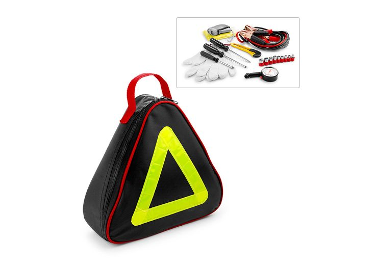 HE0278 Kit Emergency Car 32PCS. Kit de emergencia para automóvil. Contiene: 1 destornillador tipo Phillips, 1 destornillador tipo pala, 1 par de guantes, 1 bisturí, cables para batería, 1 linterna dynamo, 1 capa impermeable, 1 adaptador de copa, 9 puntas de copas (de 5 a 12 mm), 1 estuche, triangulo reflectivo 1 calibrador.