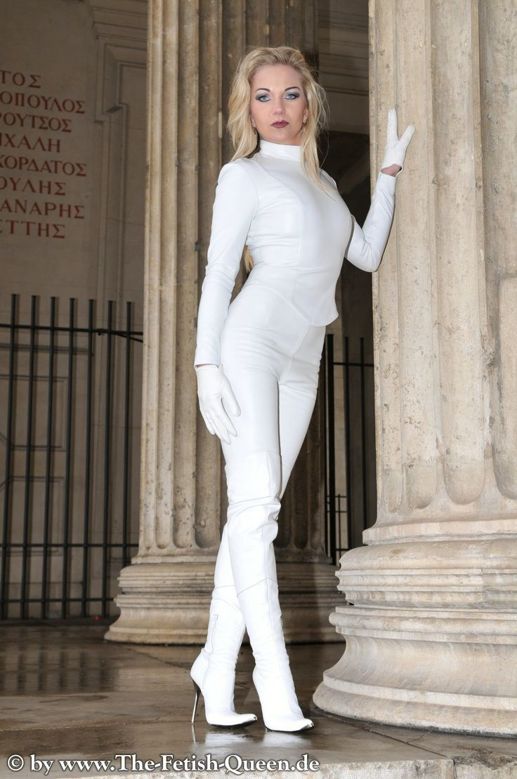 Heike - Fetish Queen in White Leather Suit, Gloves And ...