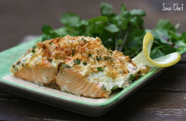 Salmon with a crispy Parmesan crust