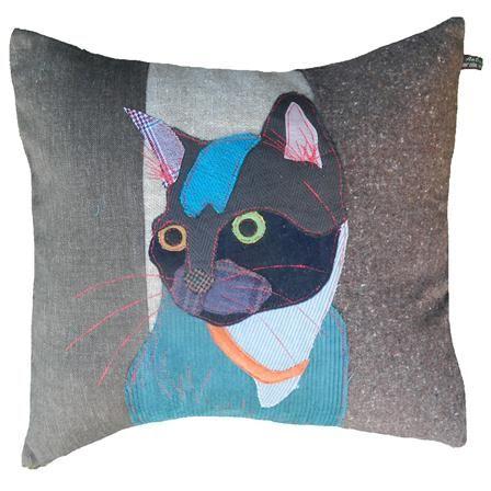 Elvis the Black Cat Cushion