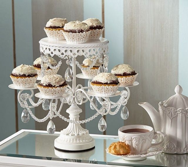 Victorian White Crystal Cake Cupcake Stand Shabby Wedding Party Serving Tea In Home Garden Supplies Stands Plates