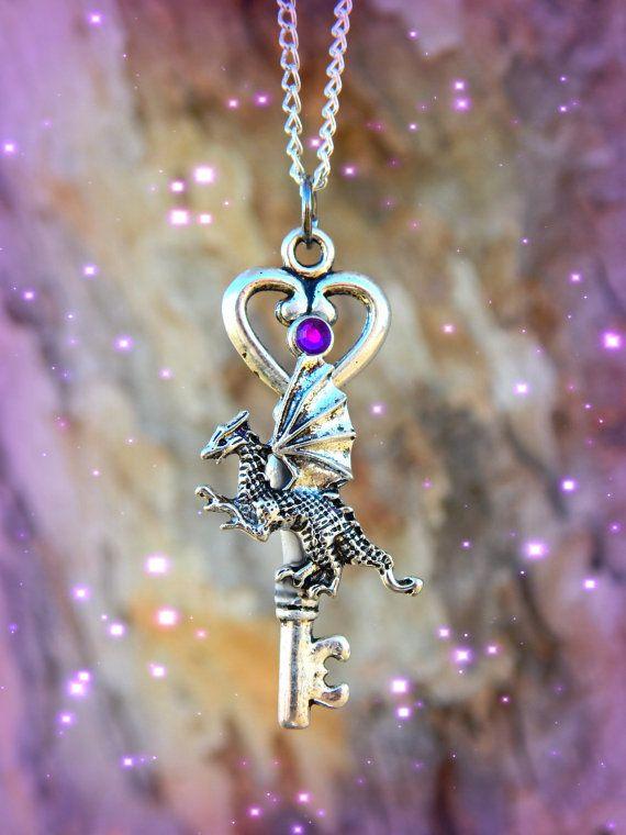 Baby Dragon Fantasy Key Purple by ArtbyStarlaMoore on Etsy, $12.00