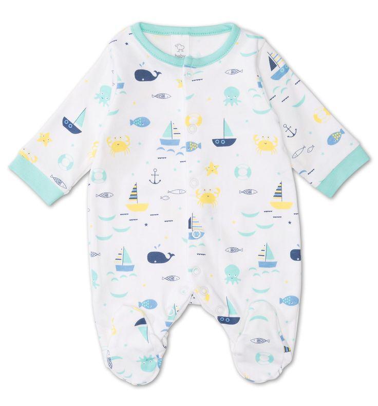 Pijama para bebé de algodón ecológico en blanco
