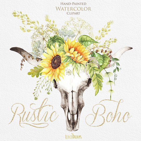 Watercolor Boho Bull Skull with Sunflower Wreath от ReachDreams
