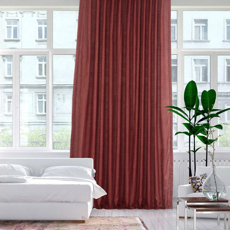 Admiral Red Designer Shantung Faux Silk Curtains