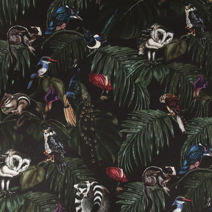 Amazonia Dark Fabric by Witch and Watchman in Velvet and Cotton Featuring tropical palm leaves, cheese plants, fern leaves, peacocks, lemurs, owls and other birds and animals!