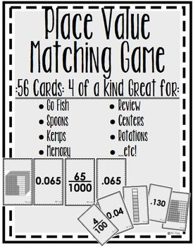 I needed a fun review game for my 5th grade students that would solidify their knowledge of place value, and how to represent decimals to their equivalent base ten models, and fractions. I also wanted them to practice applying the idea that the value of the decimal doesn't change if zeros are added to the right or left of the decimal.