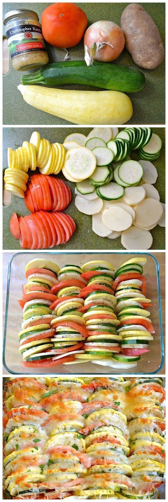 potatoes, onions, squash, zuchinni, tomatos...sliced, topped with seasoning and parmesian cheese.