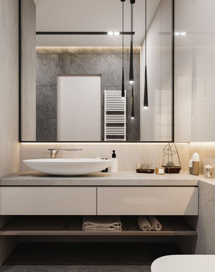 Интерьер ванной комнате в современном стиле. Зеркало с подсветкой, накладная раковина, подвесные светильники