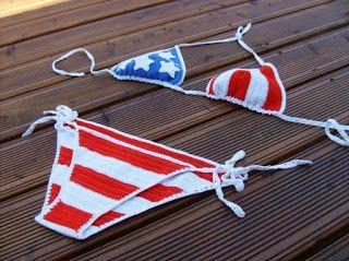 Zászlómintás horgolt bikini