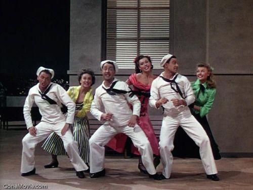 Frank Sinatra, Betty Garrett, Jules Munshin, Ann Miller, Gene Kelly, and Vera-Ellen in On the Town