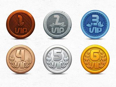 Metal coin badges / awards.