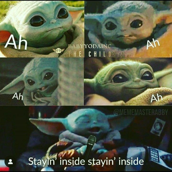 Baby Yoda Stays Inside Art Wall Kids Yoda Wall Art Pictures