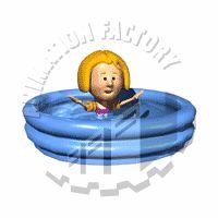 Girl Splashing In Pool Animated Clipart