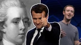 A three-part comoposite showing Pitt the Younger, Emmanuel Macron, and Mark Zuckeberg