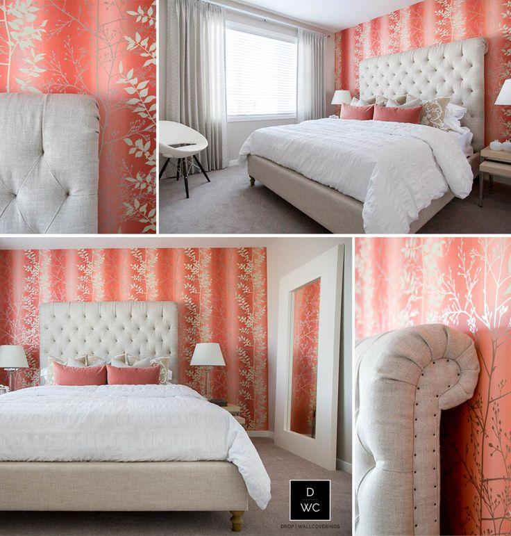 A Harlequin Wallpaper Installed in Master Bedroom by Calgary Professional Wallpaper Installer