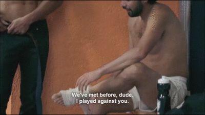 Potro (Joaquín Ferreira) meets new teammate Aitor Cardone (Alosian Vivancos), from episode 8 of Netflix Spanish-language series Club de Cuervos (animated gif)