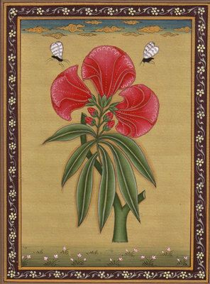 Indian-Floral-Flower-Miniature-Painting-Moghul-Mughal-Handmade-Watercolor-Art-190772597890