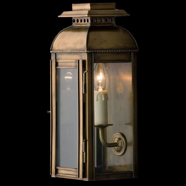 This attractive wall lantern, shown here in Copper, is also available in Antique Brass and Antique Nickel.  This fitting would suit both domestic and commercial applications.  Dimensions H: 350mm W: 130mm  P: 120mm  Finishes Antique Brass Antique Nickel Copper  Globe 240V Candle 1 x 40W (not included)