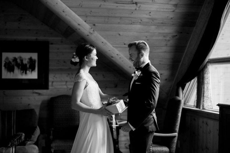 Alexis & Arden: Italian Farmhouse Wedding. First Look, Bride & Groom, B&W, Bridal Gift