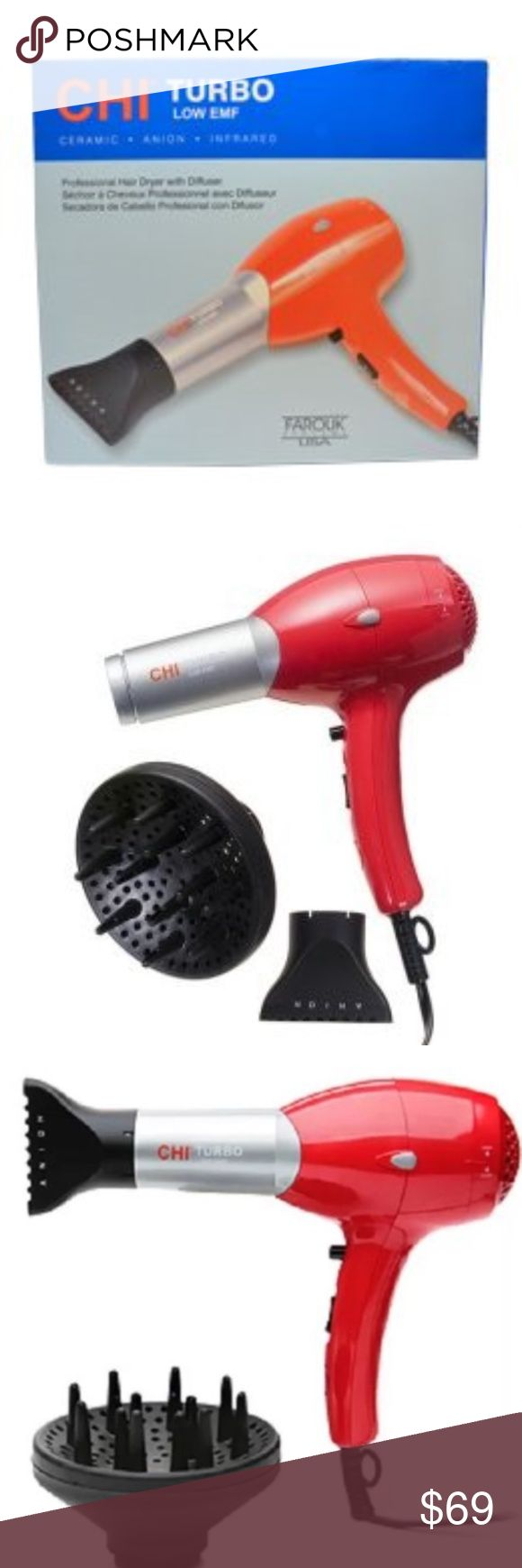 Chi Turbo Low EMF Hairdryer New The CHI Turbo Hair Dryer has ceramic, ionic technology . Turbo power dries hair from the inside out while reducing frizz and static electricity. Hair is softer, shinier and dry in half the time. No wonder the pros like this dryer so much! 1500 Watts Turbo power produces more air flow Ceramic ionic technology reduces frizz and static, enhances shine Negative Ions dry hair up to 50% faster Far Infrared heat gently dries the hair from the inside out 2 Speed…