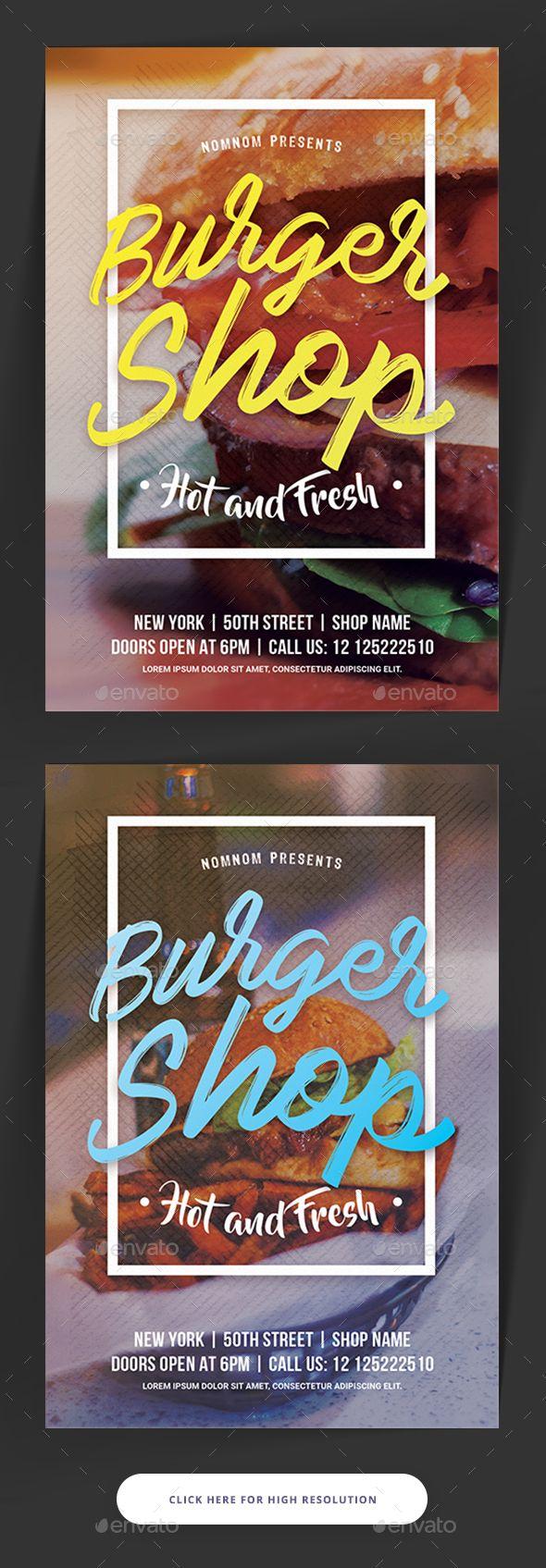 Burger Shop Flyer  — PSD Template #food #dinner • Download ➝ https://graphicriver.net/item/burger-shop-flyer/18175630?ref=pxcr