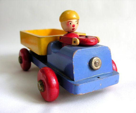Vintage wooden dump truck midcentury toy, WatermelonCatVintage